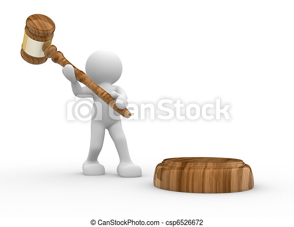 3d people- human character  with a justice hammer - gavel sound. 3d render illustration - csp6526672