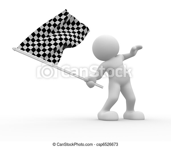 With flag on white background - csp6526673