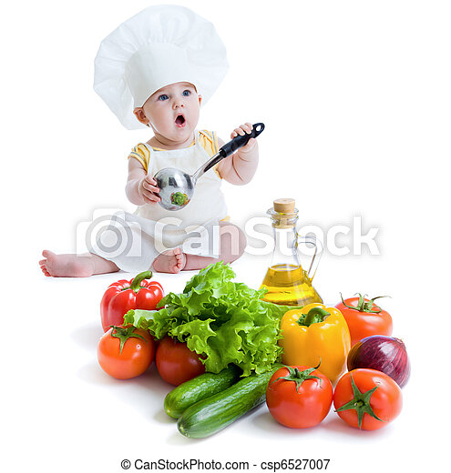 baby boy preparing healthy food isolated - csp6527007