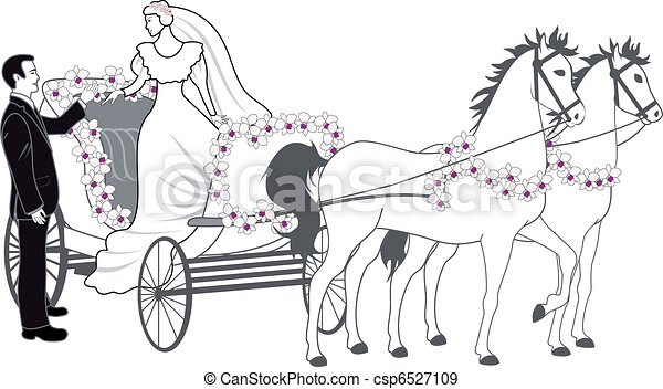 Chariot with newlyweds - csp6527109