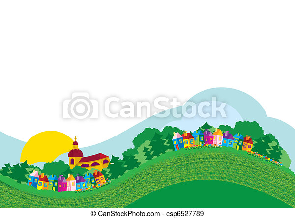 Vector illustration color village - csp6527789