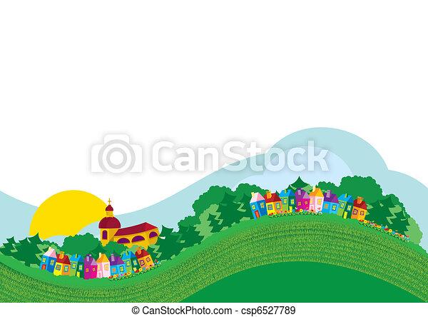 Vector illustration color village  - csp6527789