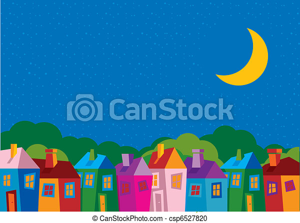 Vector illustration color houses - csp6527820