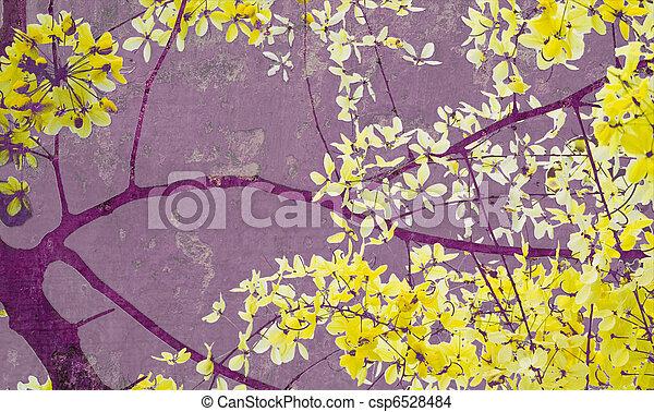 黃金, 藝術, 紫色, 樹, 陣雨, 牆, 印刷品 - csp6528484