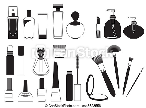 Cosmetic products .Vector collection on white for make up - csp6528558