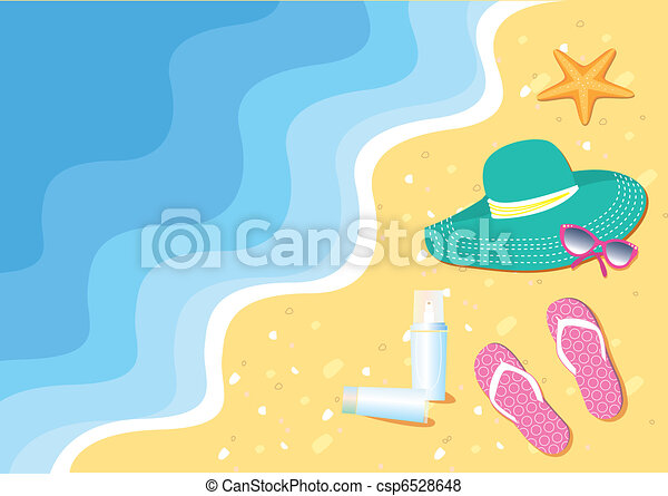 Beach with sea shells and flip-flops and accessories for swim - csp6528648