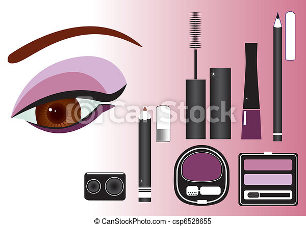 Makeup close-up.Vector image - csp6528655
