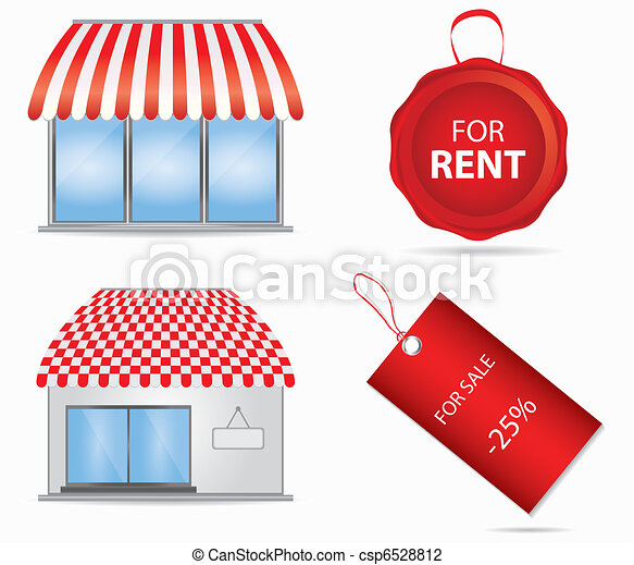 Cute shop icon with red awnings. Vector illustration. - csp6528812
