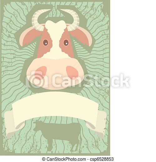 Cow symbol.vector grunge image for text. - csp6528853