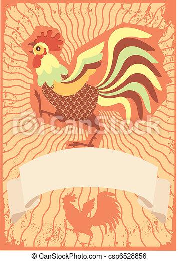 Vector illustration of bird Hen and Chicken logotype - csp6528856