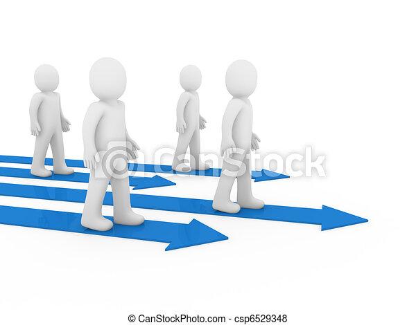3d men team arrow way  - csp6529348