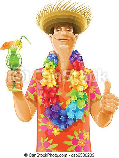 man cocktail hawaii wreath hat - csp6530203