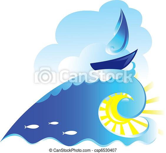 Sailing ship on spiral wave - csp6530407