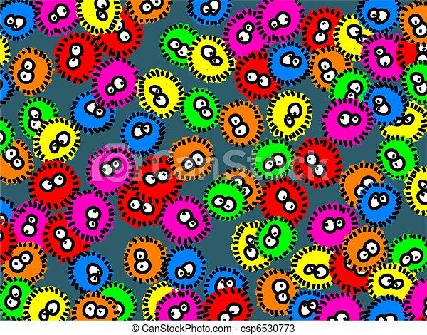 Mignon, dessin animé, coloré, germes, former, papier peint, fond