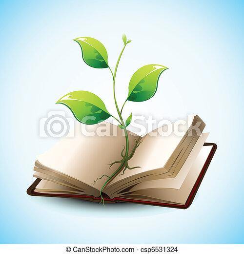 Plant Growing in Open Book - csp6531324