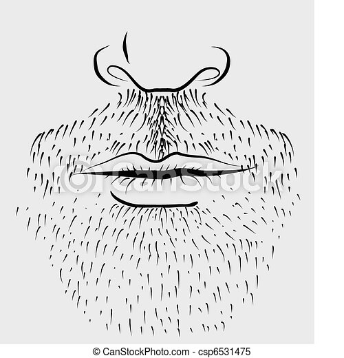 Man's beard .Vector part of face - csp6531475