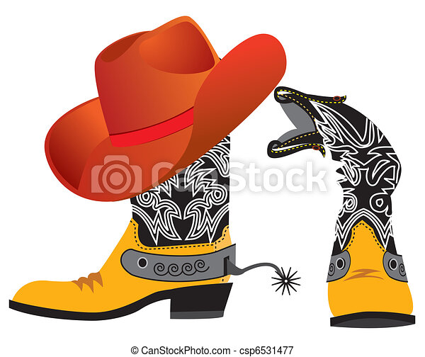 Vector shoes and hat for cowboy on white. Special clothes - csp6531477
