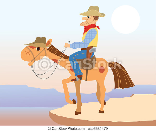 Cowboy man sit on hes horse.Vector cartoons - csp6531479