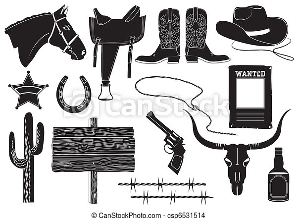 Vector cowboy clothes and elements for work and life on white - csp6531514
