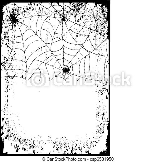 Halloween background card.Web with black spiders - csp6531950