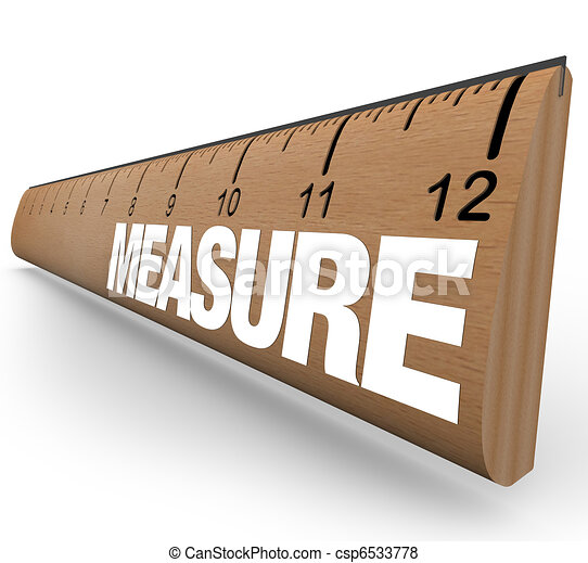 Ruler - Measure Word with Measurements on Stick - csp6533778