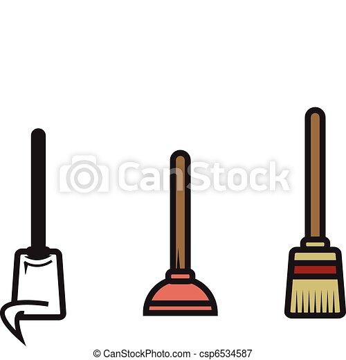 Three Vector Cleaning Utensils - csp6534587