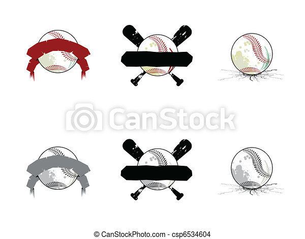 Grunge Softball/ Baseball Images - csp6534604