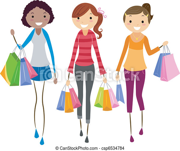 Girls Shopping - csp6534784