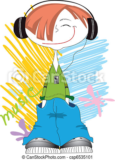 Vector cool boy smiling and listening music with player - csp6535101
