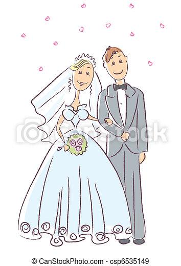Bride and groom .Vector wedding ceremony - csp6535149