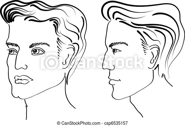 Hairstyle elements for salon with face. Vector portraits of man - csp6535157
