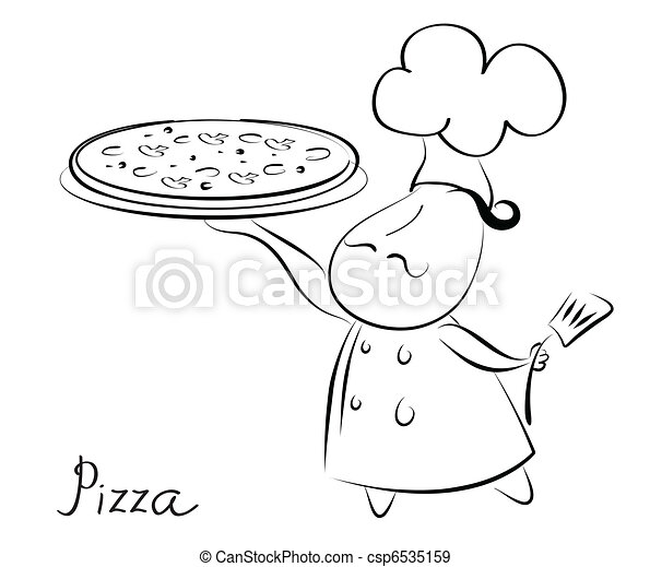 Chef and pizza.Pizza recipe background for text. - csp6535159
