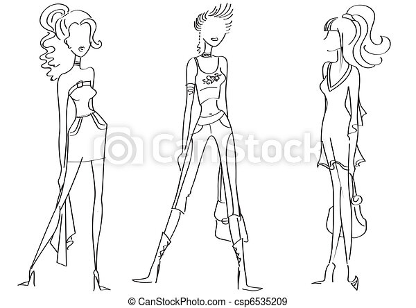 Woman in fashion clothes for design on white.Vector models - csp6535209