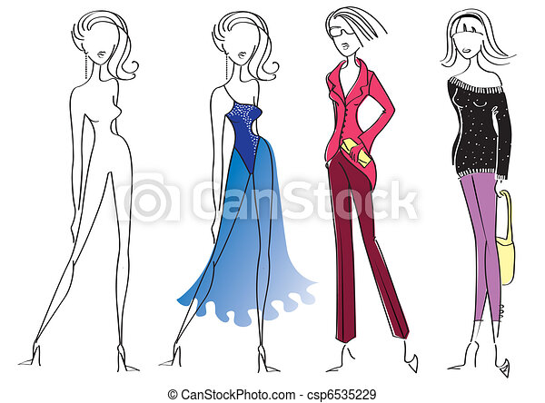Vetor eps de mulher modelos moda desenho branca for Ropa de diseno online