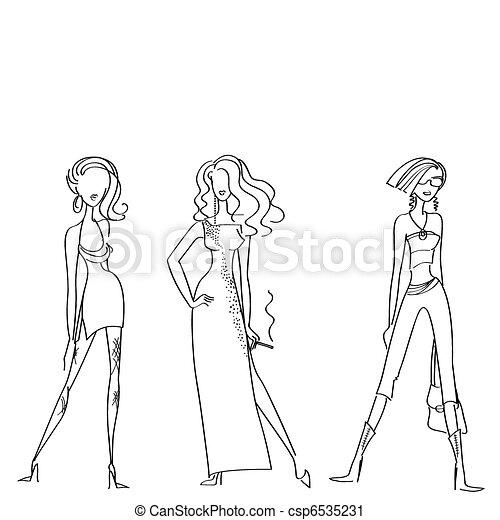 Vector clip art de mujer modelos moda dise o blanco for Dibujos de disenos de moda