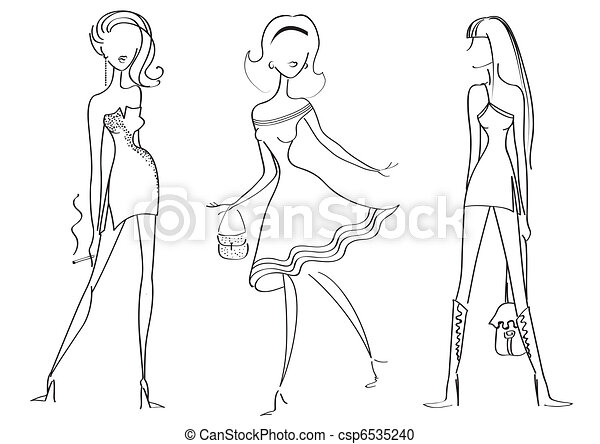 Woman in fashion clothes for design on white.Vector models - csp6535240