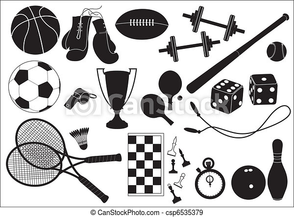 Sports equipments .Vector black icons on white - csp6535379