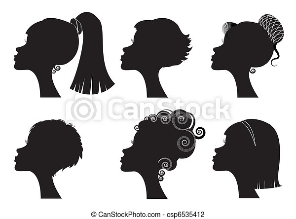 Women face with different hairstyles - vector black silhouettes - csp6535412