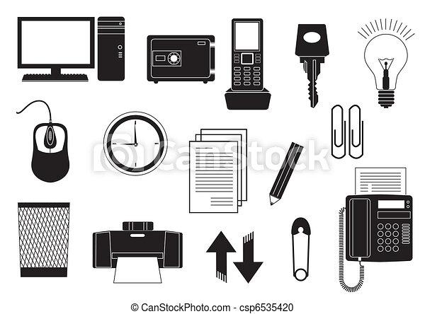 Vector clip art de oficina elementos vector negro for Elementos para oficina