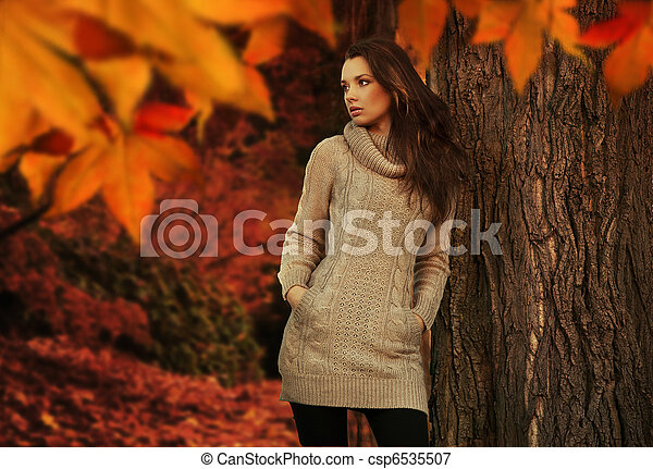 Young beauty in a autumn scenery - csp6535507