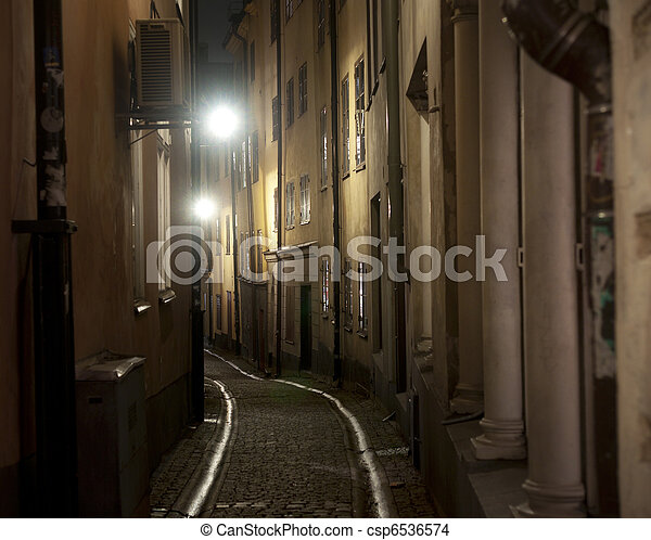 Narrow street in Stockholm - csp6536574