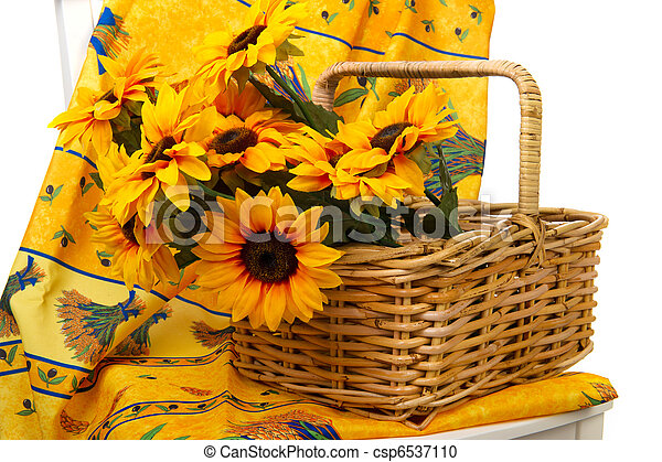 Romantic still life with sunflowers in the Provence - csp6537110