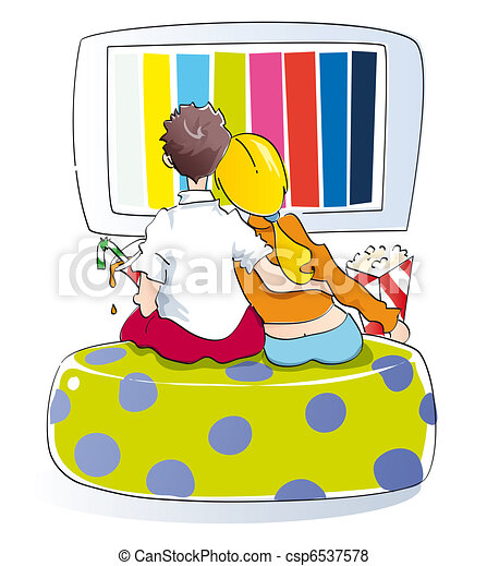 Young couple watching tv - csp6537578