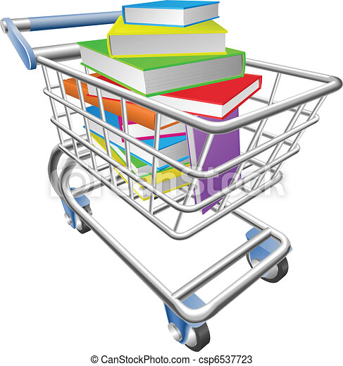 Shopping trolley cart full of books concept - csp6537723