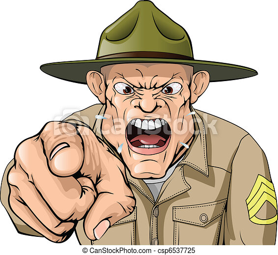 Cartoon angry army drill sergeant shouting - csp6537725
