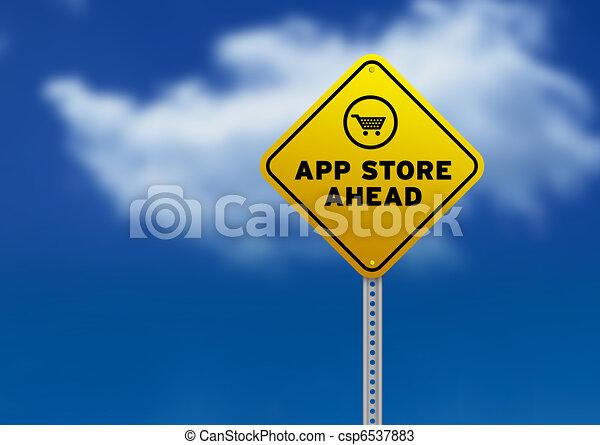 App Store Ahead Road Sign - csp6537883