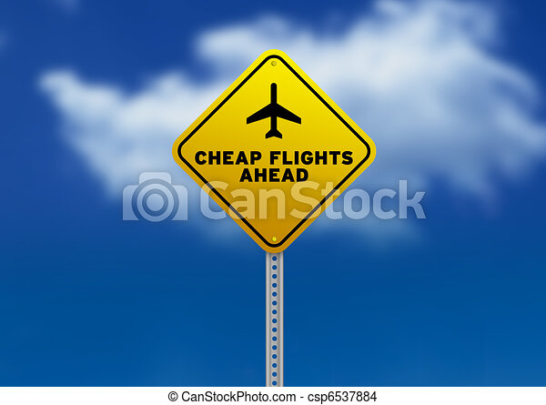 Cheap Flights Ahead Road Sign - csp6537884