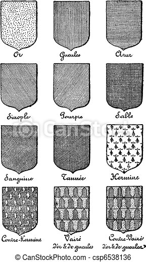 Variety of enterprise enamels used in Heraldry vintage engraving. Old engraved illustration of enamel colors from Heraldry. - csp6538136