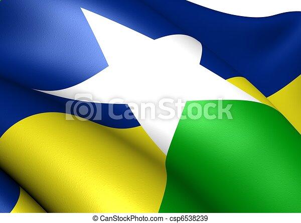 Flag of Rondonia. Close up. - csp6538239