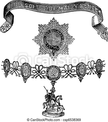 Insignia of the Order of the Garter vintage engraving - csp6538369